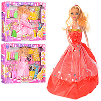 Кукла S 119 C с длинными волосами, в нарядном платье + одежда, сумочка, обувь | куколка для девочки