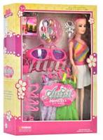 Кукла WX 36-8 длинные розовые волосы, красивые платья, одежда, очки, аксессуары | куколка для девочки