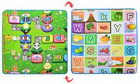 Детский коврик теплый пол Бэбипол M 2627 для детей двухсторонний | Английские буквы, цифры, животные