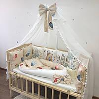 Комплект с балдахином в кроватку для новорожденного