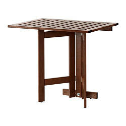 ИКЕА (IKEA) ЭПЛАРО, 802.917.31, Складной стол/стенной крепеж,д/сада, коричневая морилка, 80x56 см