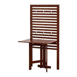 ИКЕА (IKEA) ЭПЛАРО, 490.540.15, Настенная панель+садовый стол, коричневая морилка, 80x62x158 см
