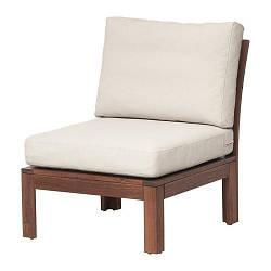ИКЕА (IKEA) ЭПЛАРО, 392.620.48, Садовое легкое кресло, коричневая морилка, Frösön / Duvholmen бежевый, 63x80x84 см