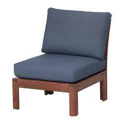 ИКЕА (IKEA) ЭПЛАРО, 292.599.75, Садовое легкое кресло, коричневая морилка, Frösön / Duvholmen синий, 63x80x84 см