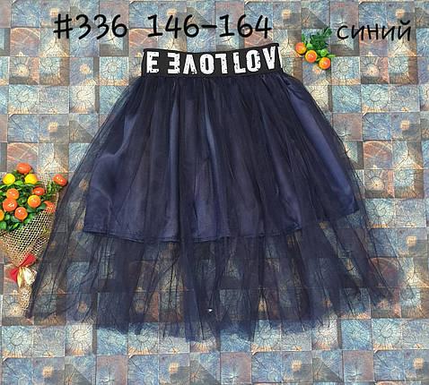 Юбка с сеткой 146-164 темно-синий, фото 2