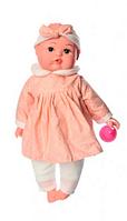 Пупс игрушечный в персиковой одежде с бутылочкой M3887 UA LIMO TOY мягконабивной,музыкально-звуковой   куколка
