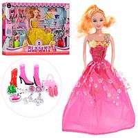 Кукла 0543 с длинными волосами, в нарядном платье + обувь, аксессуары | куколка для девочки