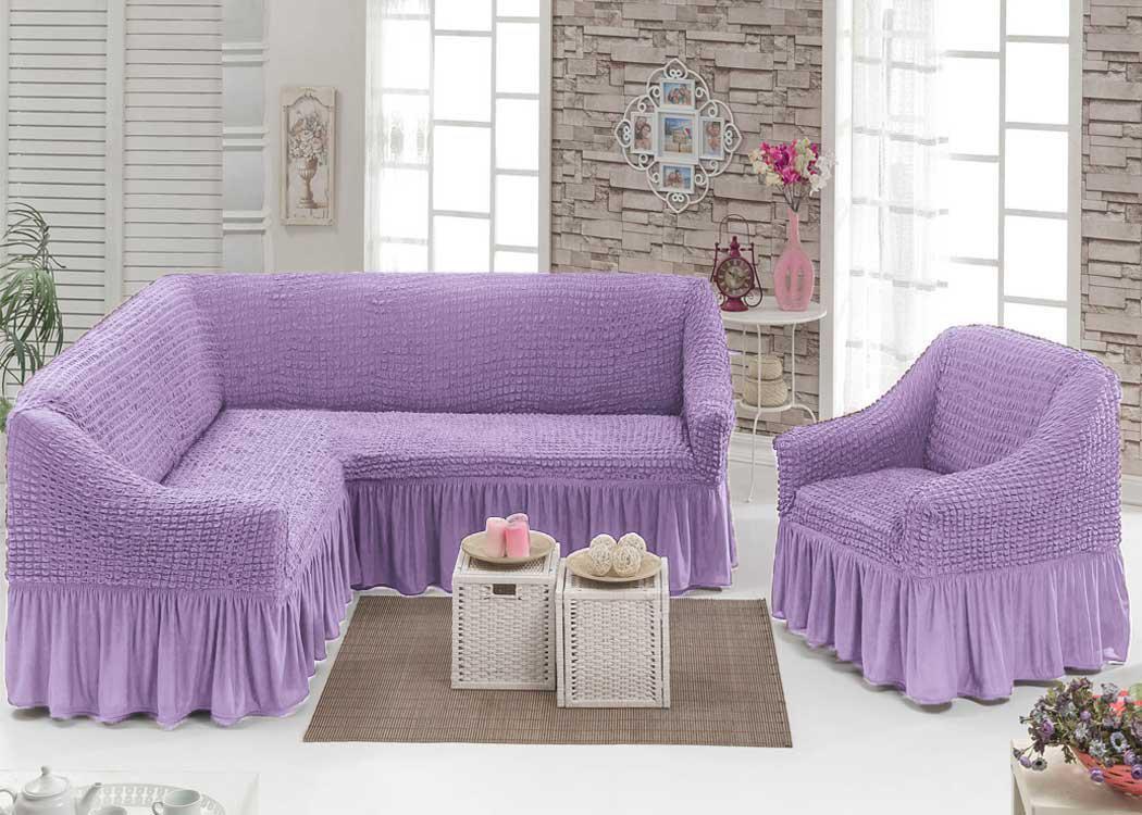 Турецкая накидка на угловой диван и кресло, комплект чехлов на угловой диван и кресло с оборкой