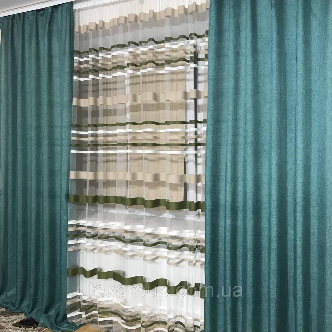 Готовые шторы с тюлью №358