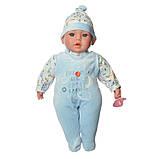 Пупс игрушечный в голубой одежде M 3859 UA LIMO TOY мягконабивной, музыкально-звуковой   детская кукла 4 вида, фото 2