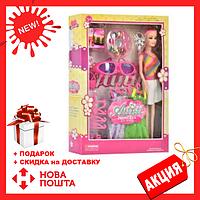 Кукла WX 36-8 длинные розовые волосы, красивые платья, одежда, очки, аксессуары   куколка для девочки