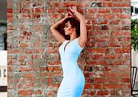 Классическое голубое платье-футляр для фотосессии (L)