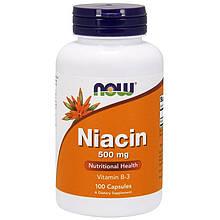 """Ниацин NOW Foods """"Niacin"""" никотиновая кислота, 500 мг (100 капсул)"""