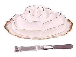 """Фарфоровая масленка с ножом """"Роза"""" Lefard 590-009"""