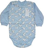 Комбинезон боди голубой с кошечками для новорожденных, рост 68 см, Ля-ля