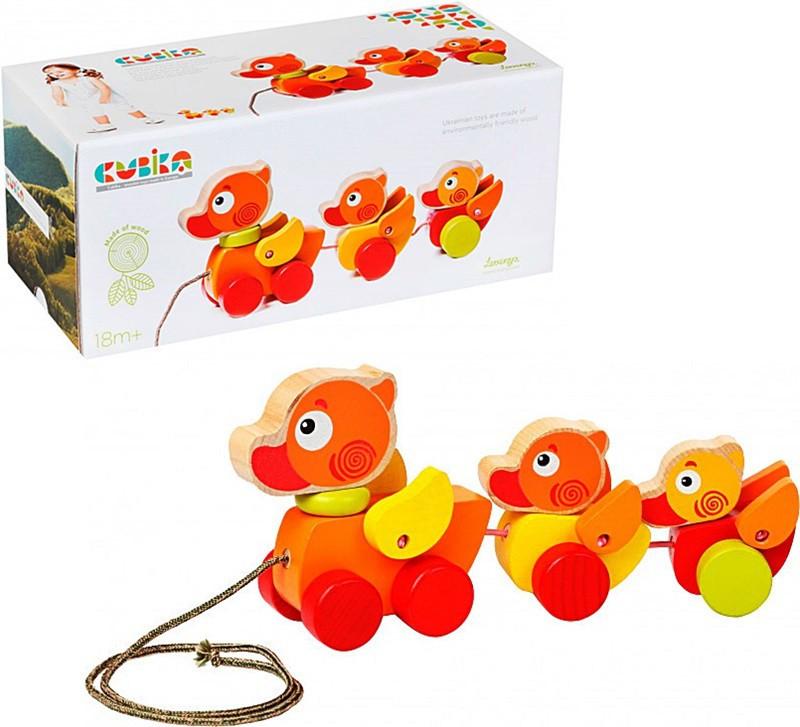 Дерев'яна іграшка-каталка Cubika Мандрівні каченята, в коробці 27*12*12см