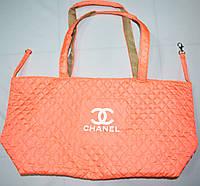 Женская стеганная оранжевая сумка на плечо 40*26 см