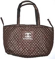 Женская стеганная каштановая сумка на плечо 40*26 см