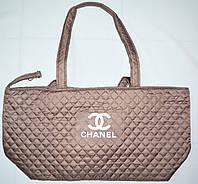 Женская стеганная бронзовая сумка на плечо 40*26 см
