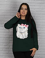 """Женская кофта с принтом """"кошка"""" размер 60, 62, 64"""