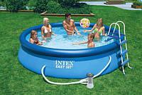 Бассейн надувной INTEX 28168 (54916) Easy Set+полный комплект=лестница тент подстилка насос фильтр 457*122 см