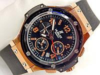 Мужские (Женские) кварцевые наручные часы Hublot Big Bang Chronograph на каучуковом ремешке, фото 1
