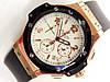 Мужские (Женские) кварцевые наручные часы Hublot Big Bang Chronograph на каучуковом ремешке