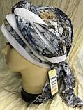 Серая с бежевым летняя  бандана-косынка хлопковая с объёмной драпировкой, фото 6