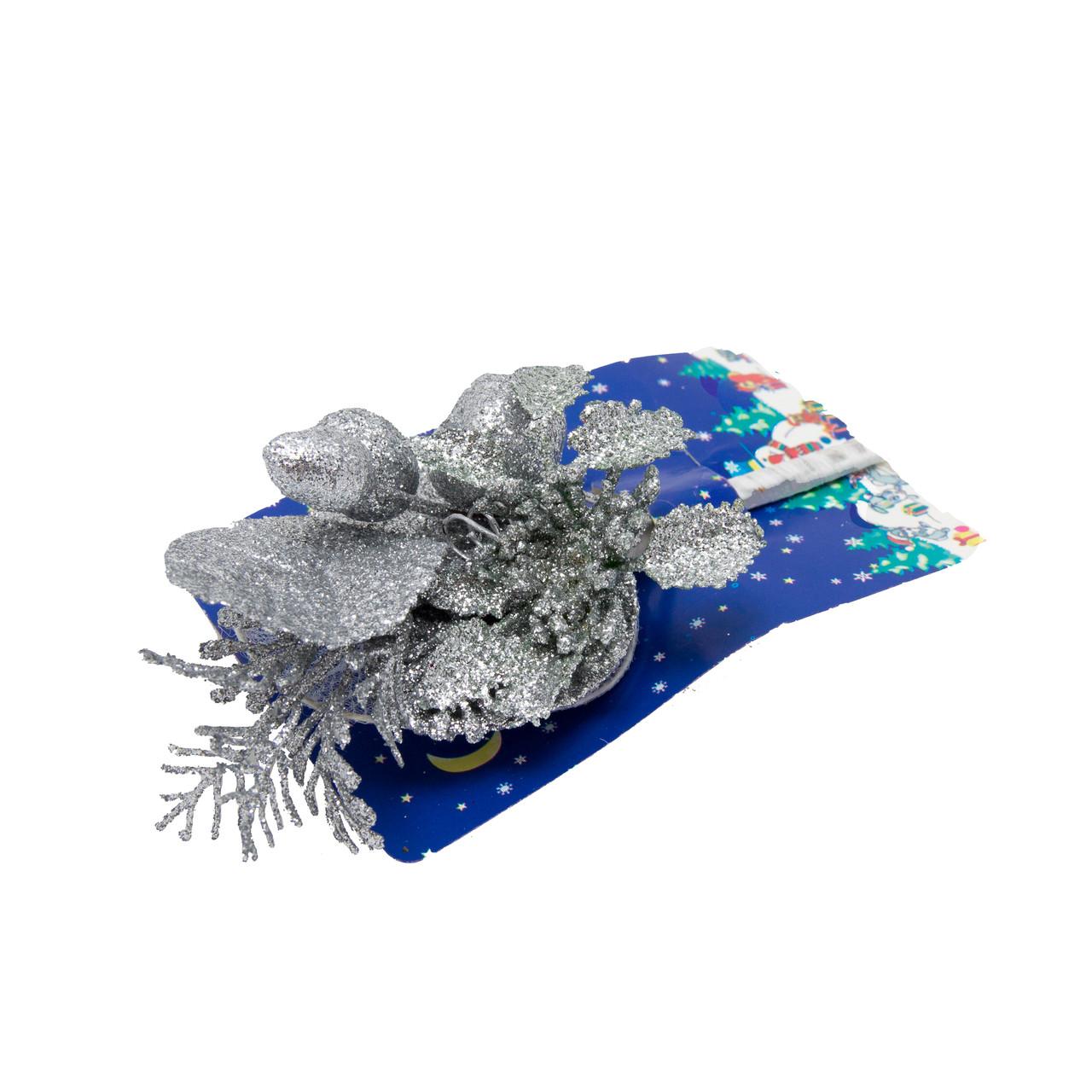 Декоративная веточка серебристая, 14 см (450053)