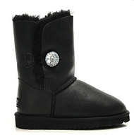 """Сапоги УГГИ замшевые UGG BAILEY BUTTON BOOT LEATHER BLING """"BLACK"""" Арт. 0352, фото 1"""