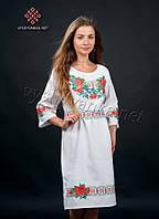 """Белое платье вышиванка """"маки, калина, васильки"""", арт. 0074-б"""