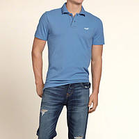 Синяя футболка-поло Hollister