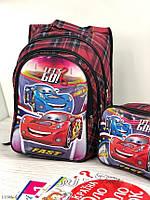 Портфель школьный с сумкой для мальчика рюкзак для школы Тачки с мигалками