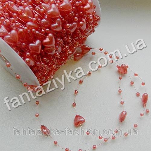 Искусственный жемчуг на леске, сердечки светло-красные