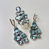 Комплект топазы серебряный серьги кольцо голубые натуральные камни