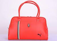 Сумка спортивного стиля для женщин, реплика Puma Ferrari, из искусственной кожи, 1 отделение, 2 ручки, 44*26см