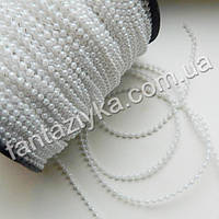 Жемчужные бусы на нитке круглые мелкие 2,5мм, белые