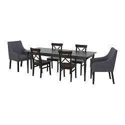 ИКЕА (IKEA) ИНГАТОРП / ИНГОЛЬФ, 092.857.01, Стол и 6 стульев, черный, Спорда темно-серый, 155/215x87 см