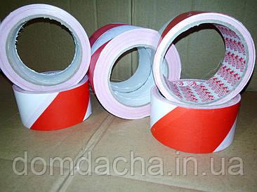 Лента сигнальная оградительная красно-белая, 100м