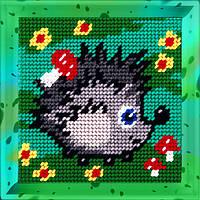 Ёжик. Набор для вышивания нитками на канве 15х15cм., фото 1