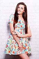 Платье Милава 2 к/р молочное с розовыми цветами короткое из стрейчевого коттона приталенное с юбкой клёш