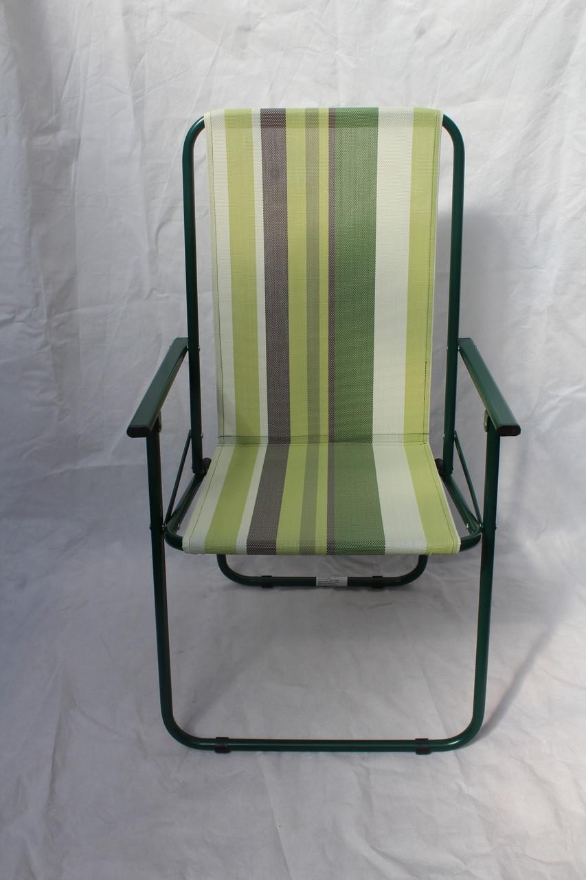Стул складной Дачный текстилен зеленая полоска