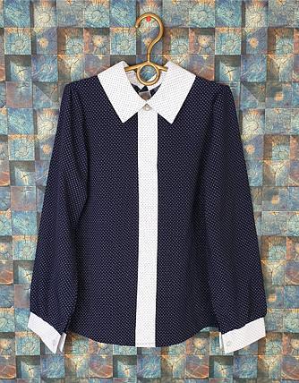 Блузка с длинным рукавом 140-158 темно-синий, фото 2
