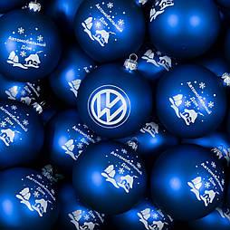 Скляна ялинкова кулька діаметром 60 мм з логотипом