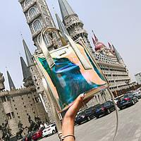 Женская летняя прозрачная сумка Jelli золотая, фото 1