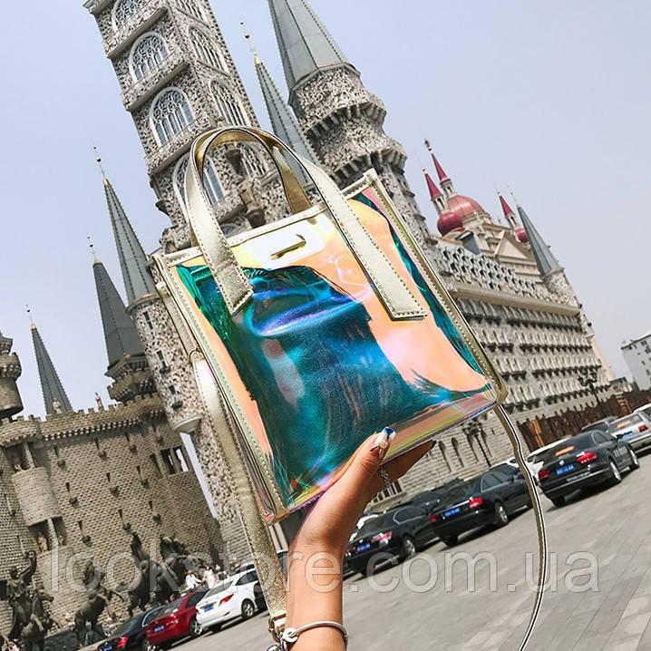 Женская летняя прозрачная сумка Jelli золотая
