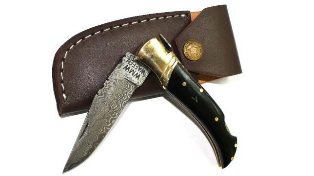 Нож охотничий  складной компактный дамаск s- 68