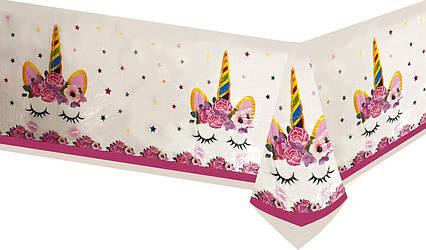 Скатерть праздничная детская Единорог в цветах