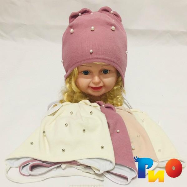 Детская весенняя шапочка, трикотаж с х/б подкладкой, для девочек р-р 40, 42, 46, 48 (5 ед в уп) NA_6170