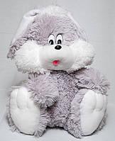 Мягкая игрушка Зайчик сидячий серого цвета